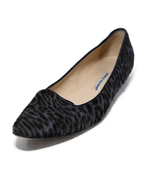 Manolo Blahnik Brown Grey Animal Print Fur Flats 1