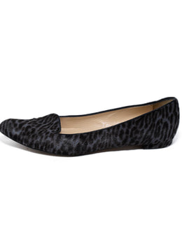Manolo Blahnik Brown Grey Animal Print Fur Flats 2