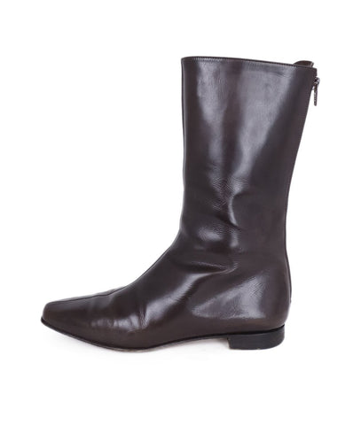 Manolo Blahnik Brown Leather Zip Back Boots 1