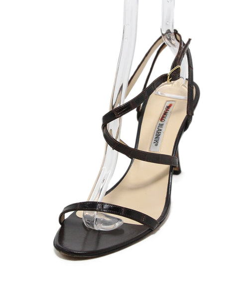 Manolo Blahnik Brown Skin Sandals 1