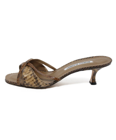 Manolo Blahnik brown tan snake skin slides 1