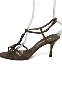 Manolo Blahnik Green Olive Leather Metallic Trim Heels 2