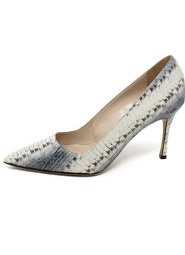 Manolo Blahnik Shoe Grey Brown Python Shoes 1