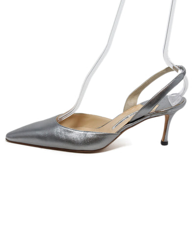 Manolo Blahnik metallic Pewter leather sling backs 1