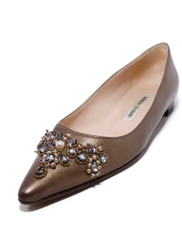Manolo Blahnik Metallic Bronze Leather Beaded Flats 1