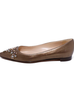 Manolo Blahnik Metallic Bronze Leather Beaded Flats 2