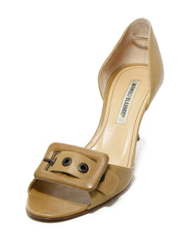 Manolo Blahnik Neutral Beige Leather Heels 1
