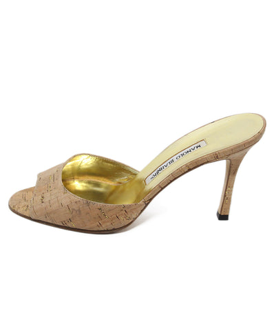 Manolo Blahnik neutral cork gold heels 1
