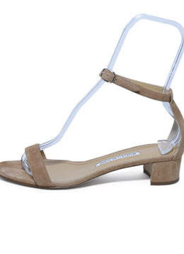 Manolo Blahnik Neutral Nude Suede Sandals 2