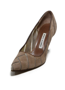 Manolo Blahnik Taupe Suede Mesh Shoes 1