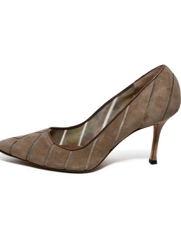 Manolo Blahnik Taupe Suede Mesh Shoes 2