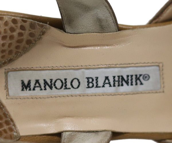 Manolo Blahnik Tan Alligator Leather Slingback Heels sz 8