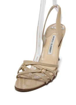 Manolo Blahnik Neutral Cream Patent Strappy Sandals 1