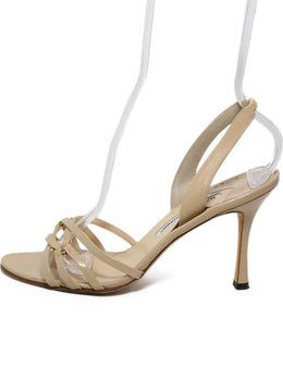 Manolo Blahnik Neutral Cream Patent Strappy Sandals 2