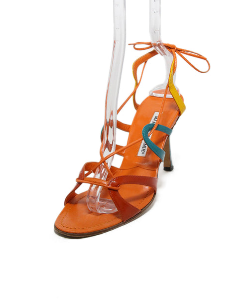 Manolo Blahnik orange yellow teal heels 1