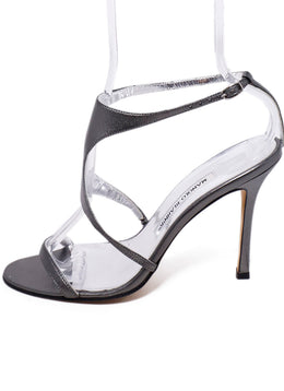 Manolo Blahnik Pewter Leather Heels 2