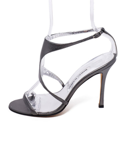 Manolo Blahnik Pewter Leather Heels 1