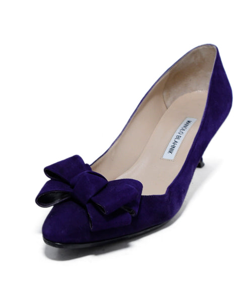 Manolo Blahnik Purple Suede Bow Trim Heels 1