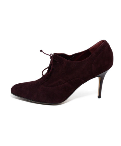 Manolo Blahnik  Red Burgundy Suede Lace Up Heels 1