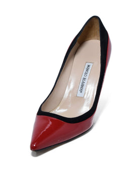 Manolo Blahnik Red Patent Leather Black Suede Heels 1