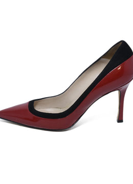 Manolo Blahnik Red Patent Leather Black Suede Heels 2