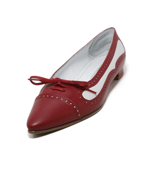 Manolo Blahnik red white leather flats 1