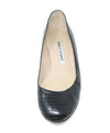 Manolo Blahnik Black Snakeskin Leather Flats 2