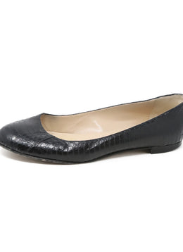Manolo Blahnik Black Snakeskin Leather Flats 1