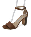 Manolo Blanhik Brown Leather Heeled Sandal with Ankle Strap 1