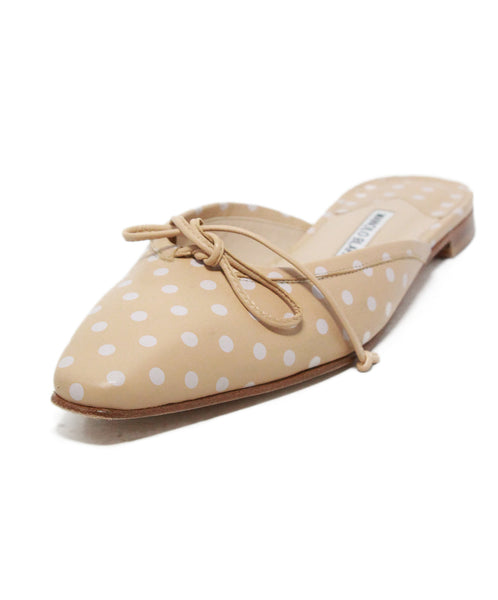 Manolo Blahnik Neutral Tan White Polka Dot Leather Slides 1