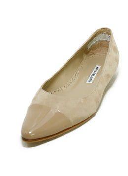 Manolo Blahnik Taupe Suede Patent Trim Flats 1