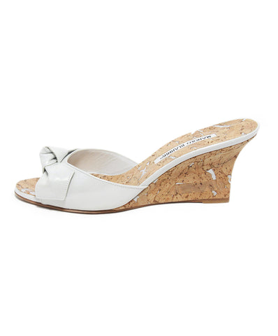 Manolo Blahnik white patent leather cork wedges 1