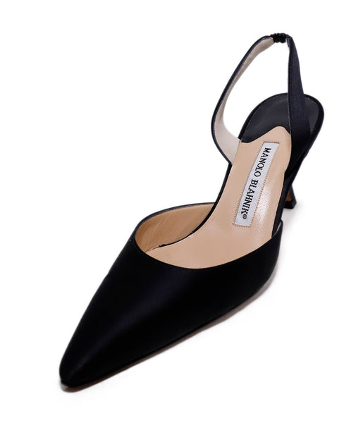 Manolo Blahnik Black Satin Sling Backs Heels 1