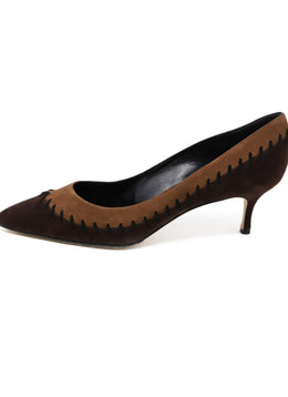 Manolo Blahnik Brown Two-toned Suede Shoes 1