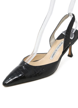 Manolo Blahnik Black Crocodile Heels 1
