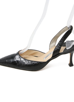 Manolo Blahnik Black Crocodile Heels 2