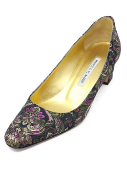 Manolo Blahnik Black Gold Pink Jacquard Canvas Pumps