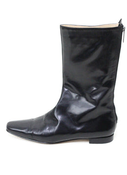 Manolo Blahnik Black Patent Leather Boots 1