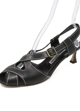 Manolo Blahnik Black Leather White Stitching Sandals 1