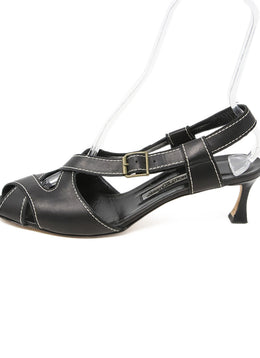 Manolo Blahnik Black Leather White Stitching Sandals 2