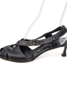 Manolo Blahnik Black Leather White Stitching Sandals Sz 42