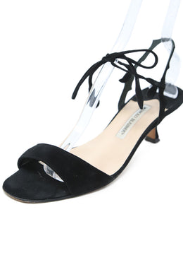 Manolo Blahnik Black Suede Sandals 1