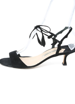 Manolo Blahnik Black Suede Sandals 2