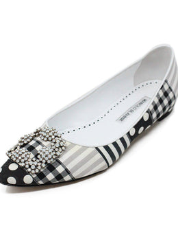 Manolo Blahnik Black and White Multi Pattern Flats