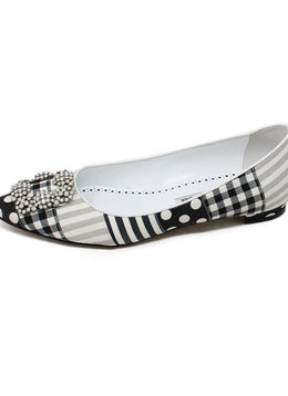 Manolo Blahnik Black and White Multi Pattern Flats 1