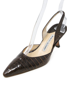 Manolo Blahnik Brown Crocodile Heels 1