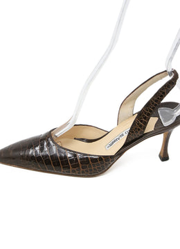 Manolo Blahnik Brown Crocodile Heels 2