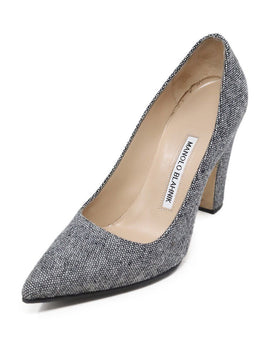 Manolo Blahnik Grey Black White Cotton Heels Sz 37