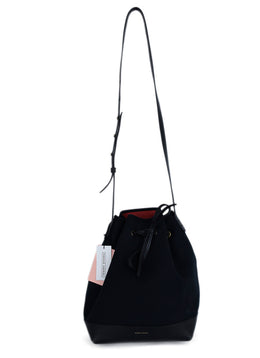 Mansur Gavriel Black Canvas Leather Trim Bucket Bag Handbag 1
