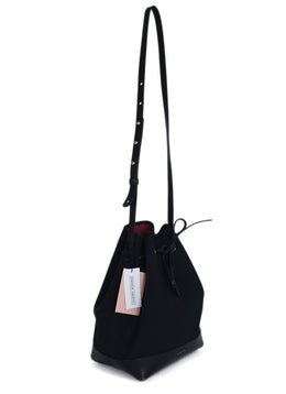 Mansur Gavriel Black Canvas Leather Trim Bucket Bag Handbag 2